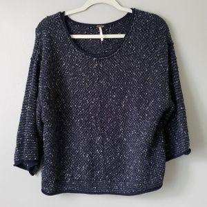 Free People | Scoop Neck Tweed Poncho Sweater